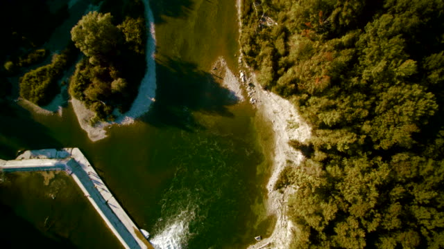the dam on the saugeen river near by walkerton, brockton, bruce county, ontario, canada. aerial drone 4k footage - vancouver canada stock videos and b-roll footage