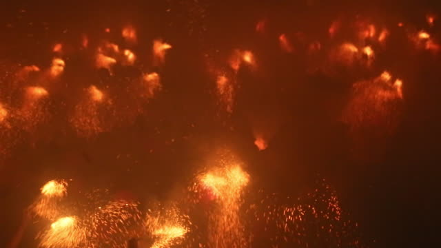 the dance of the plens in the berga patum with fire and sparks. - summer solstice stock videos and b-roll footage