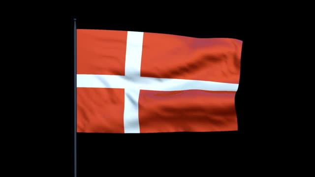 vídeos y material grabado en eventos de stock de the danish flag waves against a black background. - danish flag