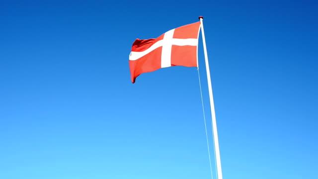 vídeos y material grabado en eventos de stock de la bandera nacional danés sopla en el viento en el cielo azul - danish flag