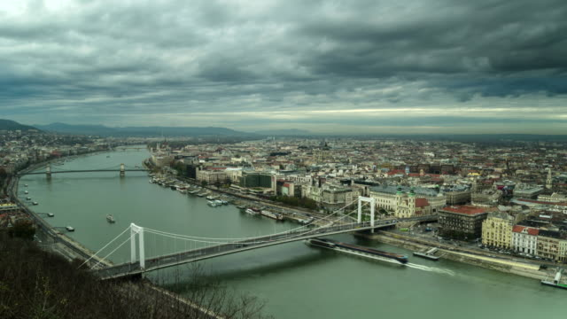 The Danube River in Budapest, Hungary, Europe. - Time-Lapse