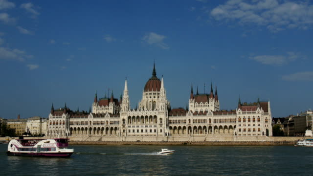 The Danube river with boats, and Hungarian Parliament Building in background ,Budapest