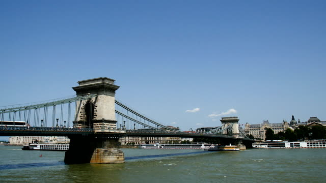 The Danube river with boats, Budapest