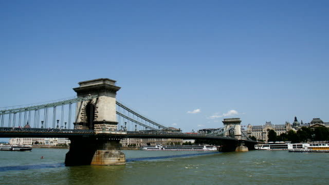 the danube river with boats, budapest - castle hill budapest stock videos and b-roll footage