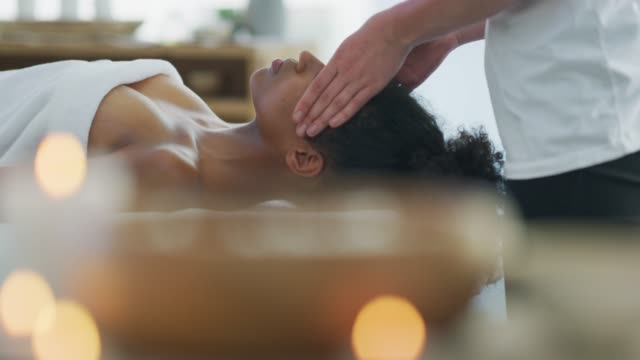 the day will go better after a massage - head massage stock videos and b-roll footage