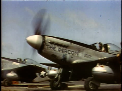 'The Deacon' starting up / line of P51s starting engines / 'The Deacon' taxiing forward