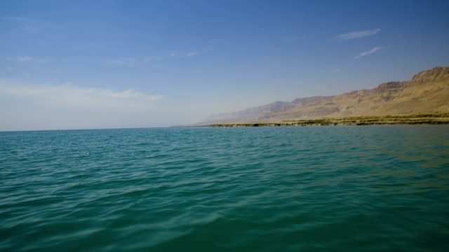 the dead sea- the lowest place on earth, judean desert israel - boat point of view stock videos & royalty-free footage