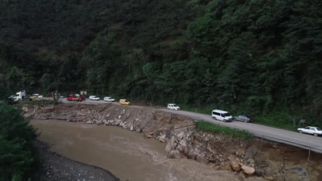 """the death toll from floods in turkey's black sea province of giresun rose to five, the country's president said sunday, aug. 23. """"according to... - destruction stock videos & royalty-free footage"""