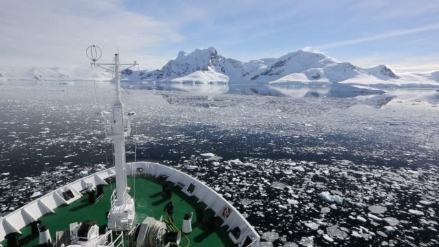 the deck of the akademik sergey vavilov, an ice strengthened ship on an expedition cruise to antarctica, off the antarctic peninsular at the gerlache... - ship's bow stock videos & royalty-free footage