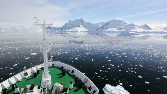 The deck of the Akademik Sergey Vavilov, an ice strengthened ship on an expedition cruise to Antarctica, off the Antarctic Peninsular at the Gerlache Strait. The Antarctic Peninsular is one of the most rapidly warming places on the planet.