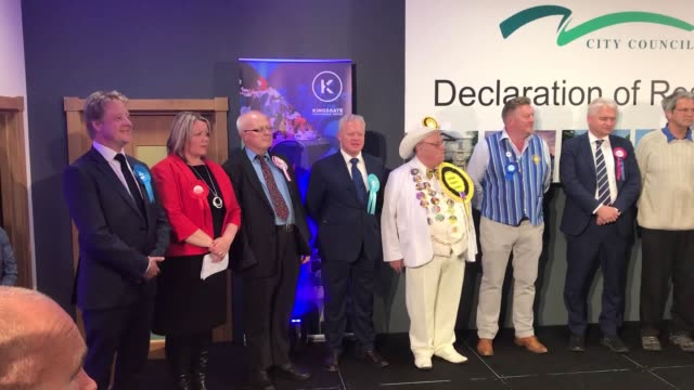 the declaration of results at the byelection in peterborough where labour topped the poll ahead of the brexit party - nachwahl stock-videos und b-roll-filmmaterial
