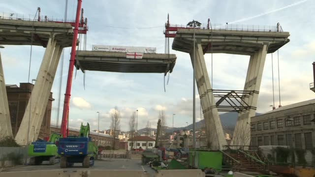 the deconstruction of the morandi bridge in genoa is well underway giving a concrete start to the dismantling of the structure which partially... - liguria stock videos & royalty-free footage