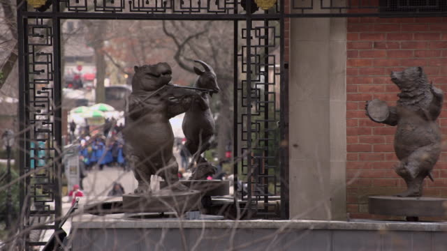 the delacorte clock does it hourly dance in central park in new york city. - central park zoo stock videos & royalty-free footage