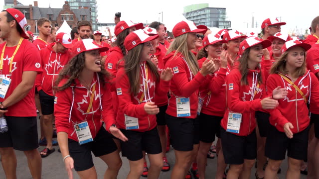 The delegation representing Canada in the PanAm games arrives in the Athletes' Village where a joyful ceremony is held