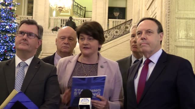 "the democratic unionist party has said it will not accept any brexit deal that ""separates"" northern ireland from the rest of the uk. dup leader... - dup stock-videos und b-roll-filmmaterial"
