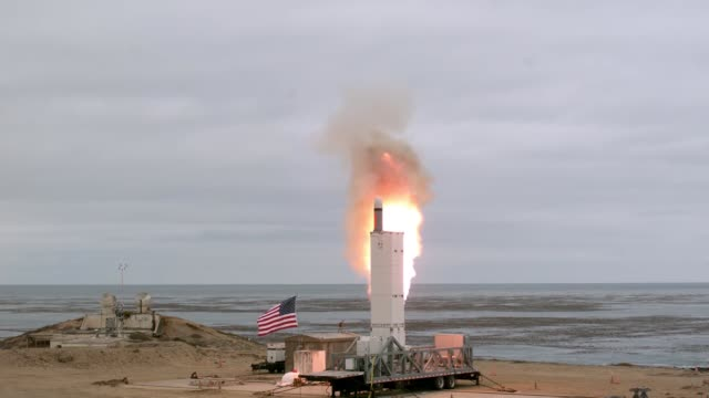 the department of defense conducted a flight test of a ground launched cruise missile at san nicolas island california the missile accurately... - 試運転点の映像素材/bロール