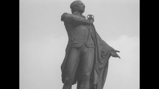 the depiction of george washington in a cloak with him holding a sword at his shoulder / note exact month/day not known documentation incomplete - george washington stock videos and b-roll footage