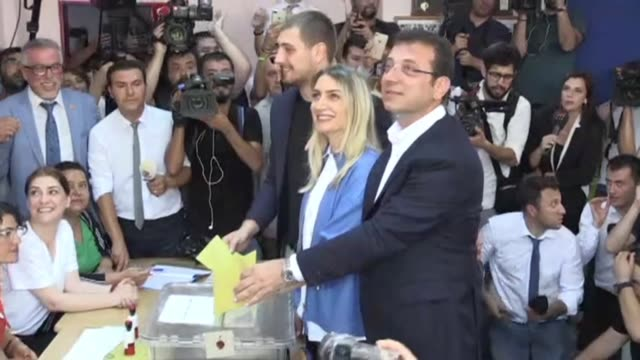 the deposed mayor of istanbul ekrem imamoglu casts his vote in the re run election after the cancellation of the first results after appeals by... - election stock videos & royalty-free footage