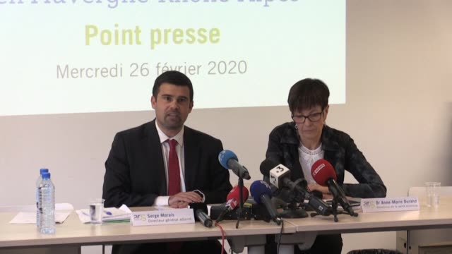the deputy director general of the auvergne rhone alpes regional health agency ars serge morais gives an update in lyon on the french patient... - rhone alpes stock videos & royalty-free footage