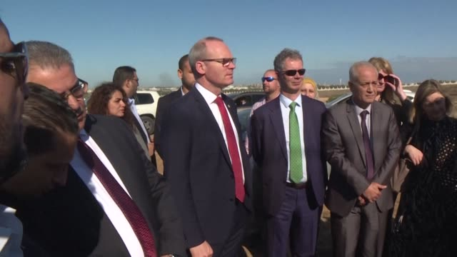 the deputy head of the irish government simon coveney visits a water treatment plant in the north of the gaza strip financed by ireland after being... - israel palestine conflict stock videos & royalty-free footage