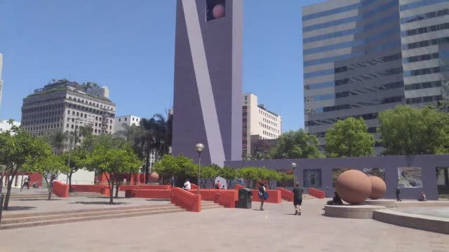 the design competition to remake pershing square in downtown los angeles has been won by a team led by french landscape architecture firm agence ter,... - westwood neighborhood los angeles stock videos & royalty-free footage