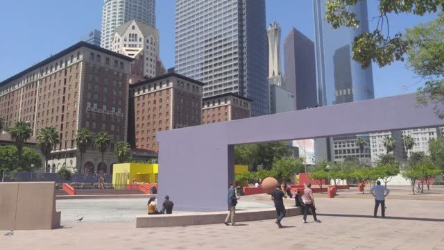 the design competition to remake pershing square in downtown los angeles has been won by a team led by french landscape architecture firm agence ter... - westwood neighborhood los angeles stock videos & royalty-free footage