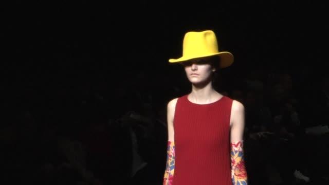 The designs of Japanese designer Hiroko Koshino are shown on the runway at Tokyo fashion week