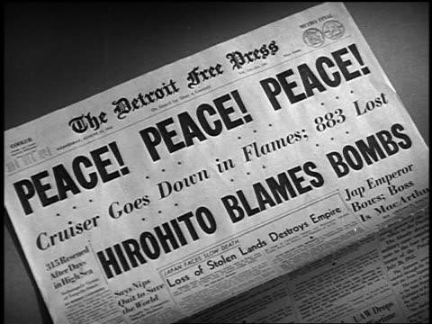 The Detroit Free Press newspaper with headline Peace Peace Peace
