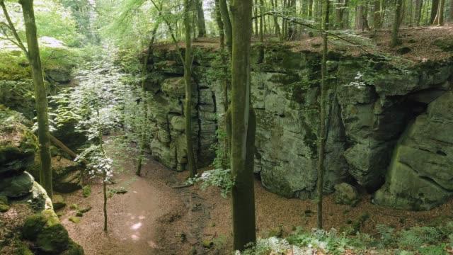the devils canyon at ferschweiler plateau near ernzen, south-eifel, rhineland-palatinate, germany, europe - rhineland palatinate stock videos & royalty-free footage