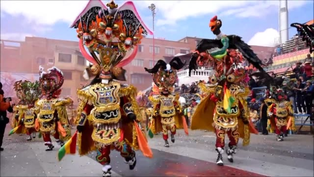 The Diablada or devils dance which recreates the fight between good and evil opens the carnival in Oruro Bolivia on Saturday