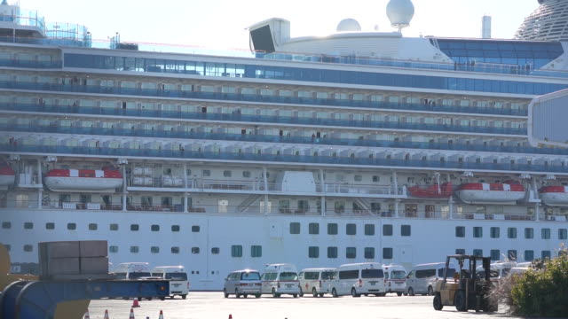 the diamond princess cruise ship, operated by carnival corp., sitting docked in yokohama, japan, on wednesday, february 12, 2020. japan's health... - cruise stock videos & royalty-free footage