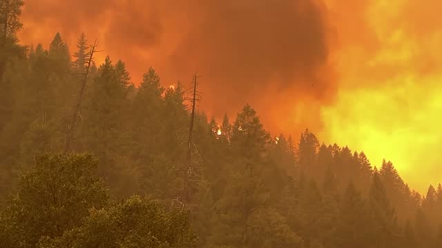 the dixie fire at 185000 acres rips throttle intersection of hwy 70 and hwy 89 saturday afternoon also consuming a railroad trestle july 24, 2021 - california stock videos & royalty-free footage