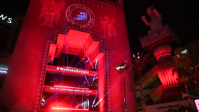the dolby theater at hollywood and highland is lit in red as venues nationwide participate in the red alert restart campaign to pressure congress to... - the dolby theatre stock videos & royalty-free footage