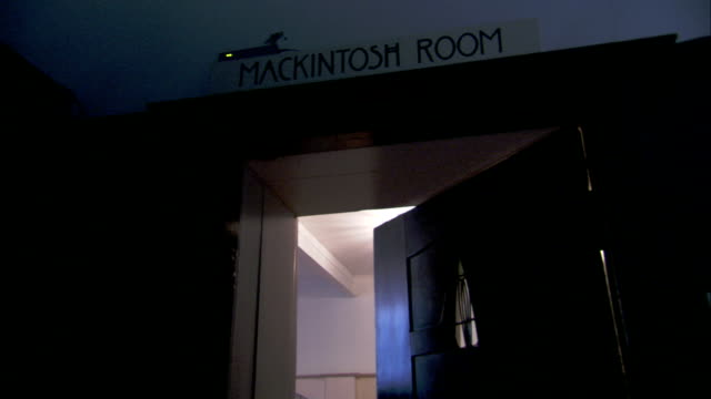 the doorway to the macintosh room at the glasgow school of art opens and closes. available in hd. - charles rennie mackintosh stock videos and b-roll footage