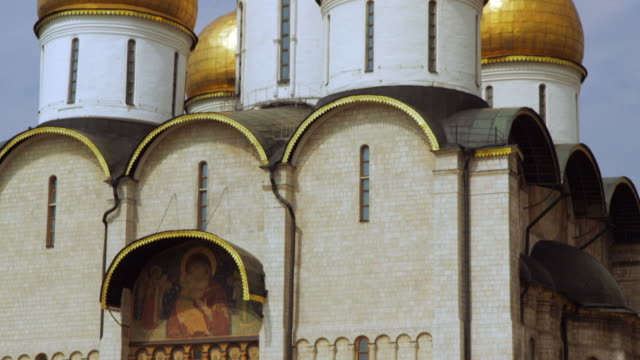 the dormition cathedral in the kremlin - cathedral stock videos & royalty-free footage
