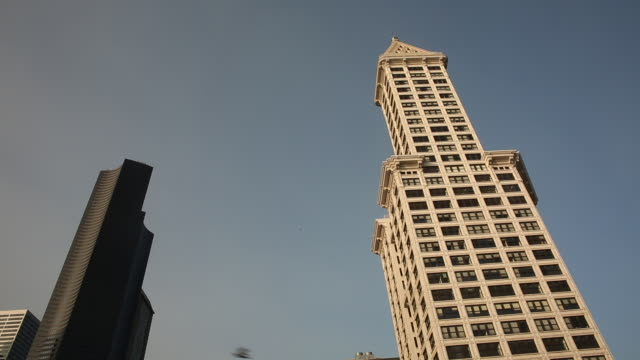 the downtown seattle skyline with blue sky on a sunny day. - smith tower stock videos & royalty-free footage