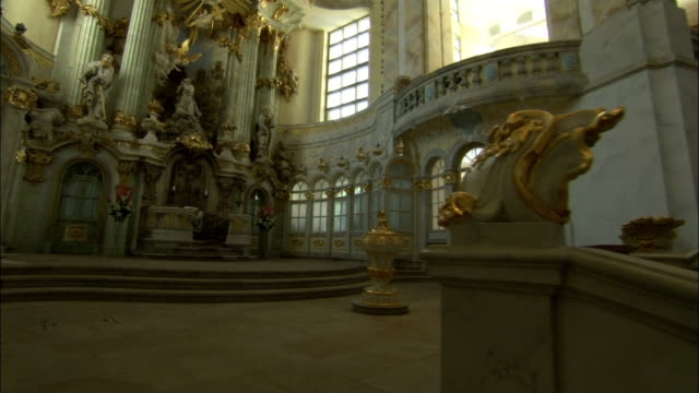 The Dresden Frauenkirche boasts of beautiful Romanesque architectural details. Available in HD.