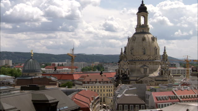 the dresden frauenkirche towers in the center of frauenkirche square in germany. available in hd. - dresden frauenkirche stock videos & royalty-free footage