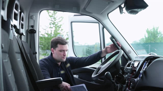 the driver gets into the truck. - commercial land vehicle stock videos & royalty-free footage
