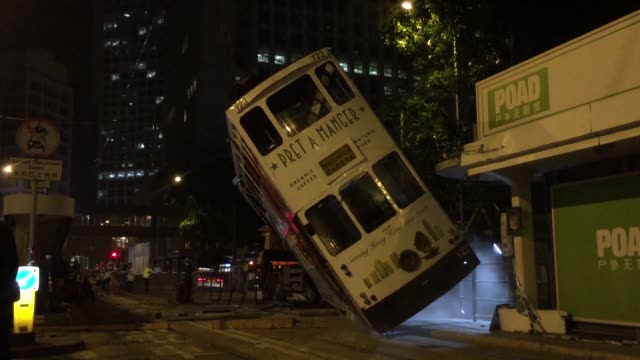 The driver of a double decker tram that tipped over in Hong Kong injuring 14 people was arrested on suspicion of dangerous driving