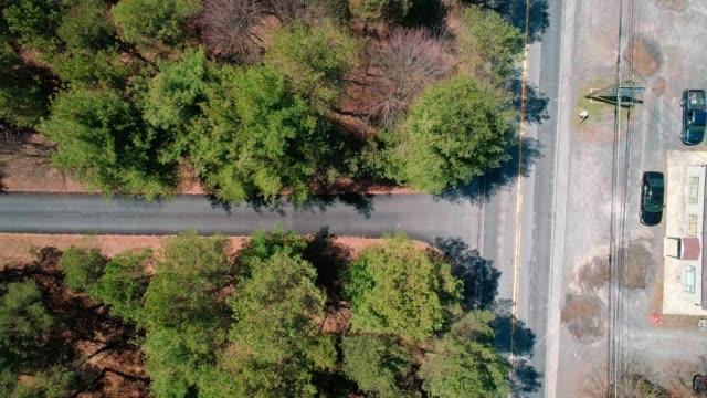 vídeos de stock, filmes e b-roll de o vídeo do zangão: a pequena estrada na pensilvânia diretamente acima - processo vegetal