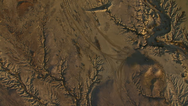 the dry creekbed of well creek branches out into an arid landscape in big bend country, view from directly above. - basin and range province stock videos and b-roll footage