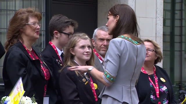The Duchess Of Cambridge attends the Place2be headteachers conference at Merrill Lynch Shows exterior shots the Duchess of Cambridge meeting guests...