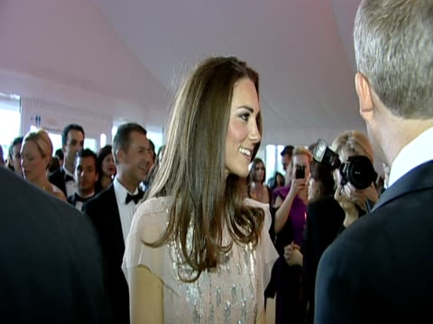 the duchess of cambridge chats to saffron aldridge and various guests at the ark 10th anniversary gala dinner - formal stock videos & royalty-free footage