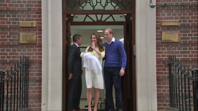 The Duchess of Cambridge delivers a baby girl Shows exterior shots Prince William the Duchess of Cambridge posing for photographs as Catherine holds...