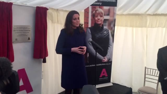 the duchess of cambridge during a visit to open an action on addiction treatment centre in wickford essex which helps people with addictions - herzogin stock-videos und b-roll-filmmaterial