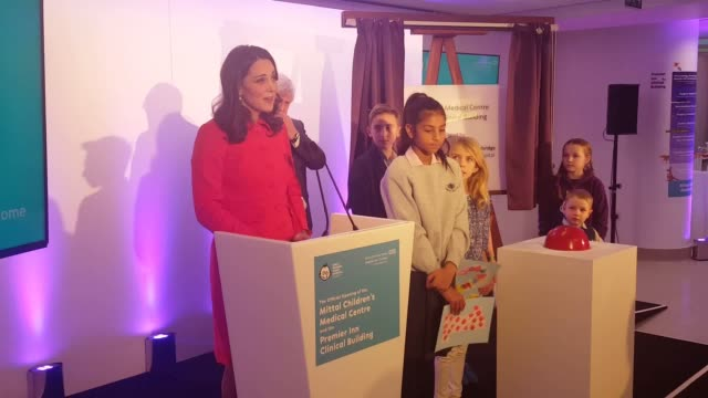 The Duchess of Cambridge gives a speech at Great Ormond Street Hospital ash she officially opens the Mittal Children's Medical Centre during a visit