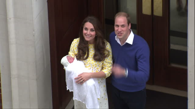 The Duchess of Cambridge has delivered a baby girl Shows exterior shots aerials Prince William Catherine walk from the Lindo wing carrying the...