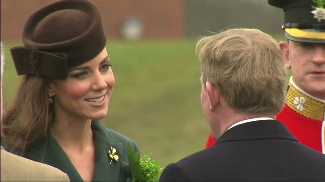 stockvideo's en b-roll-footage met the duchess of cambridge joined a regiment of the irish guards to celebrate st patrick's day 450 soldiers turned out on the parade ground at... - aldershot