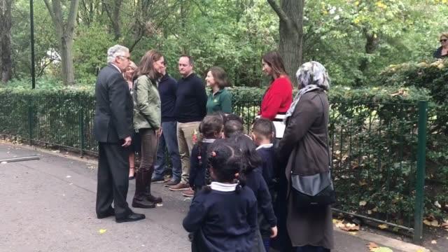 The Duchess of Cambridge meets children from St Augustine School at the Wildlife Garden in the Paddington Recreation Ground